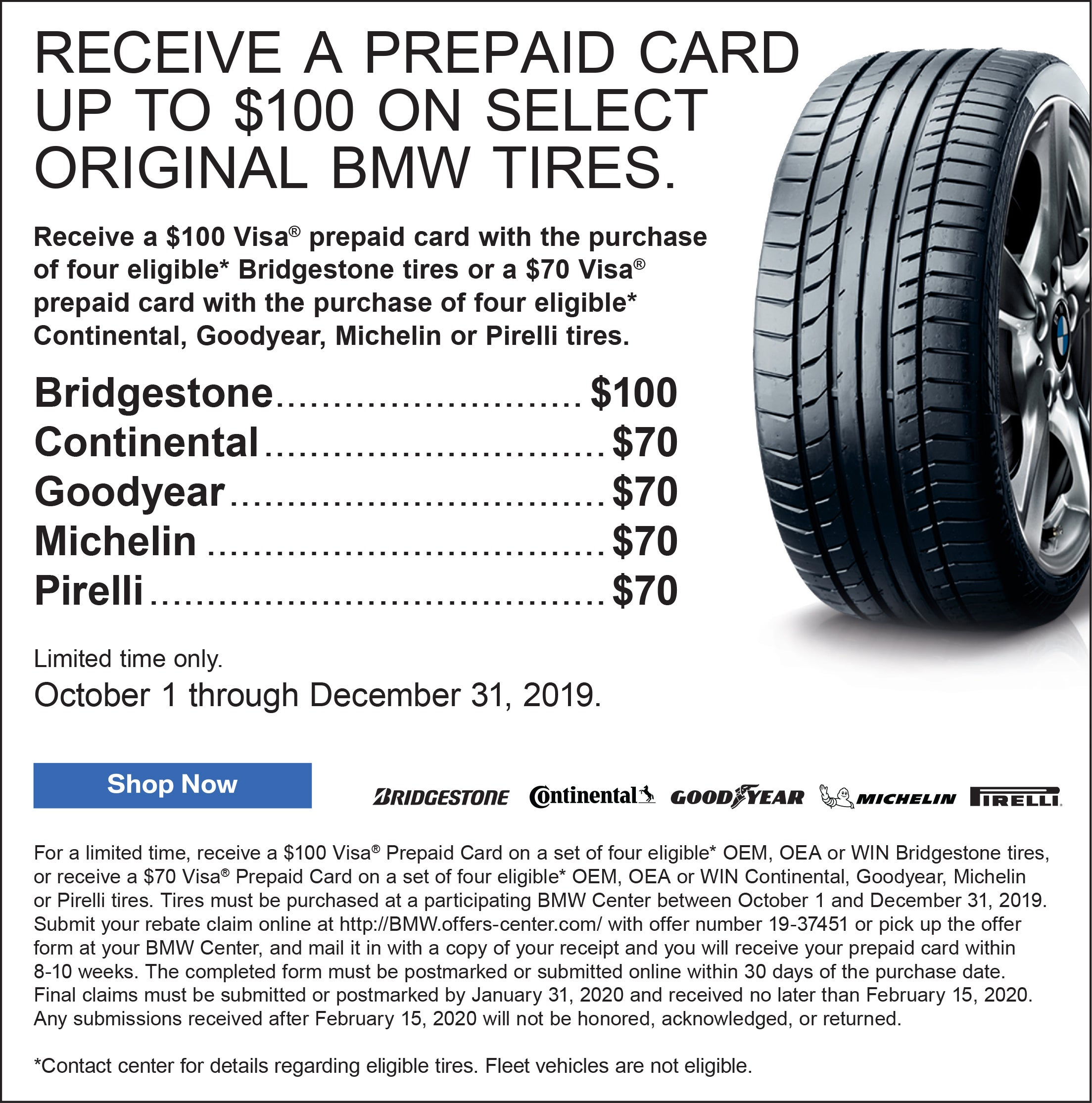 Tires Near Me Open Now >> Receive A Prepaid Card Up To 100 On Select Original Bmw